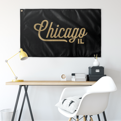 Chicago Illinois Wall Flag (Black and Gold)-Allegiant Goods Co.