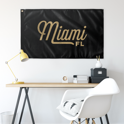 Miami Florida Wall Flag (Black & Gold)-Allegiant Goods Co.