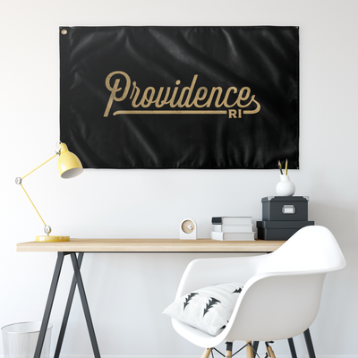 Providence Rhode Island Wall Flag (Black & Gold)-Allegiant Goods Co.