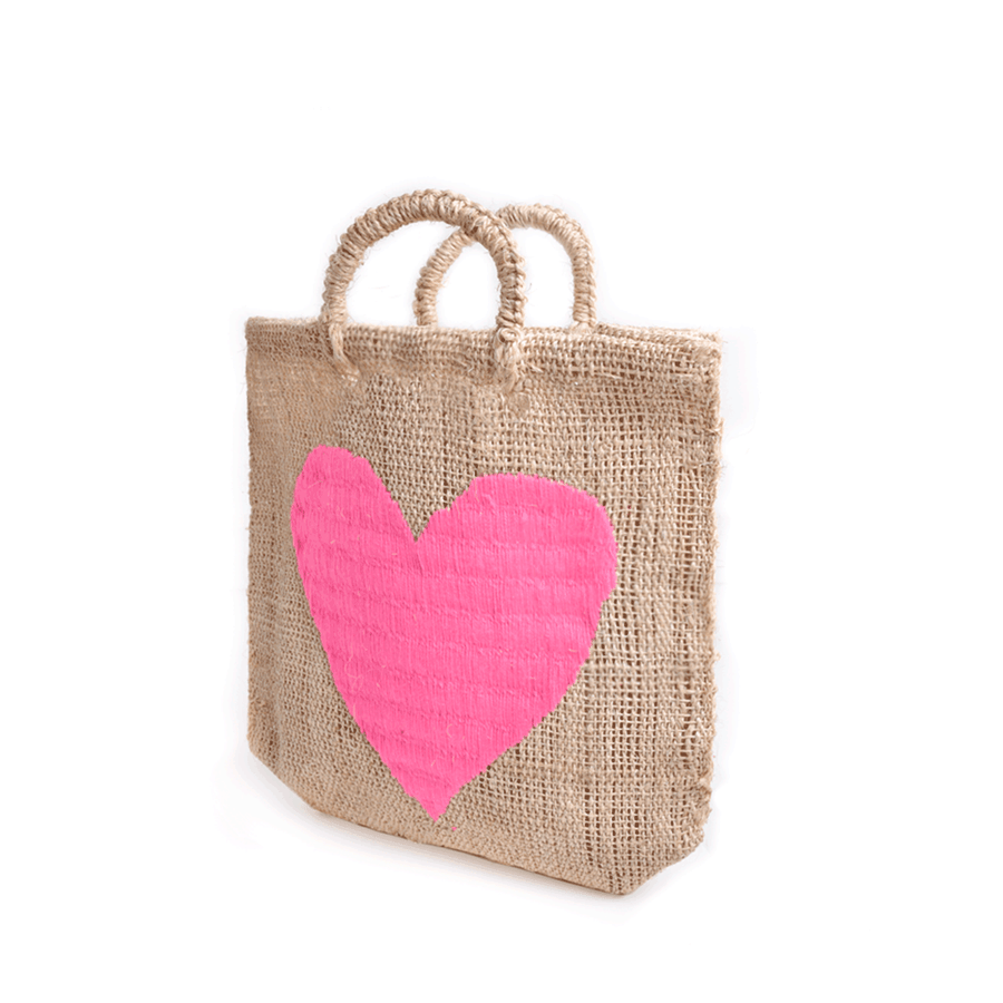 Acalli Heart Straw Bag Large