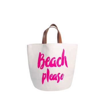 Please Beach Bag  Bright Pink