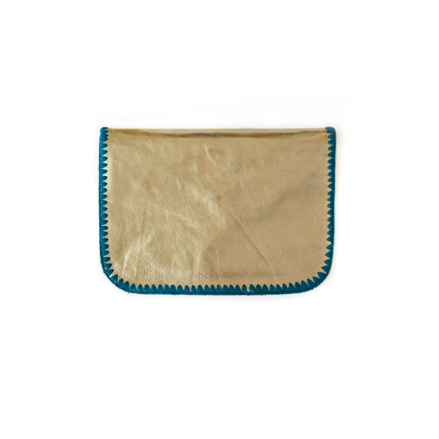 Cristina Turquoise Blue Leather Clutch