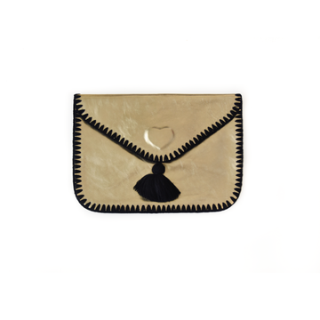 Cristina Black Leather Clutch