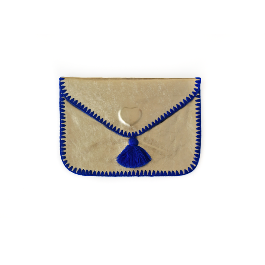 Cristina Electric Blue Leather Clutch