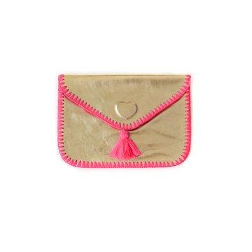 Cristina Pink Leather Clutch