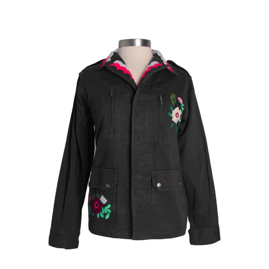 Pink Flowers Military Jacket