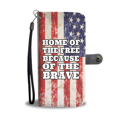 Home Of The Brave Vintage Wallet Phone Case