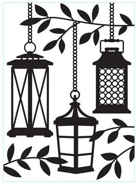 Darice - Embossing Folder - Lanterns In Tree