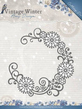 Amy Design - Dies - Vintage Winter Collection - Snowflake Swirl Round