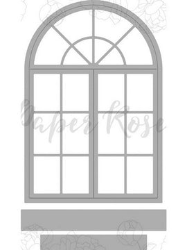 Paper Rose - Dies - Victorian Arched Window