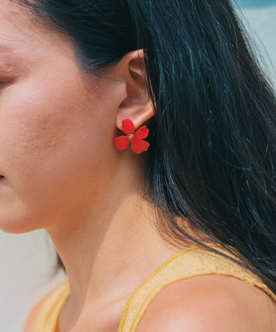 Alliaria Stud Earrings in Crimson