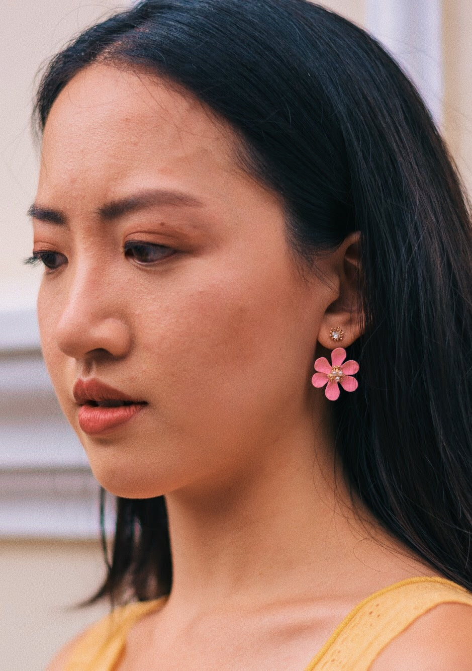 Daisy 2-Way Earrings in Rose Pink