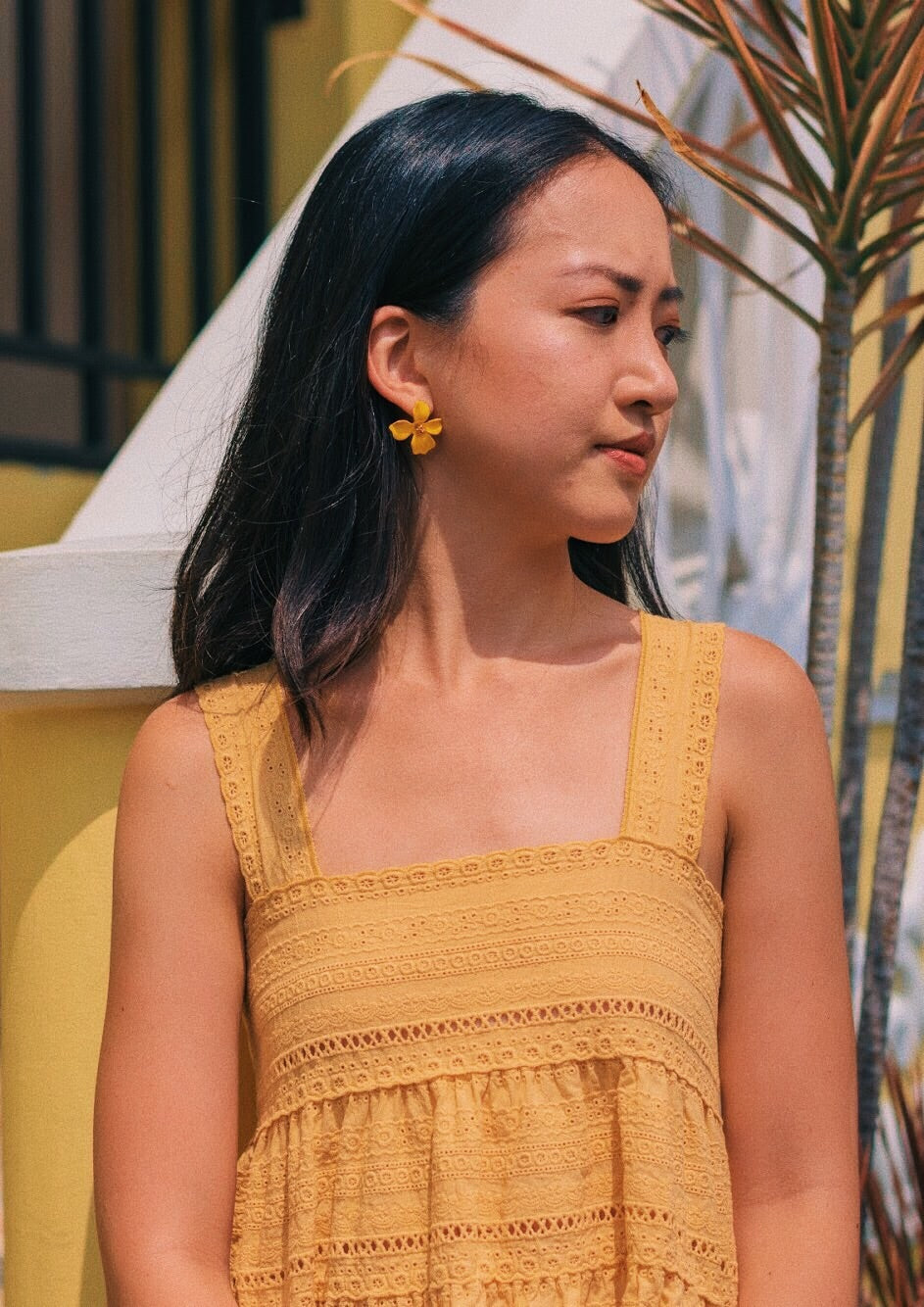 Alliaria Stud Earrings in Mustard