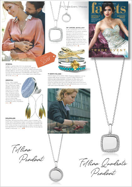 Sif Jakobs Jewelery Follina Necklace in Facets Magazine - silver with white zirconia - engraving - engraved