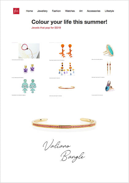 Sif Jakobs Jewelery Valiano bangle in JFW MAGAZINE - gold with red zirconia