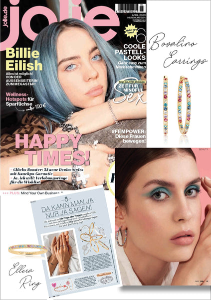 Sif Jakobs Jewellery Bovalino earrings and Ellera ring in Jolie - rainbow - gold