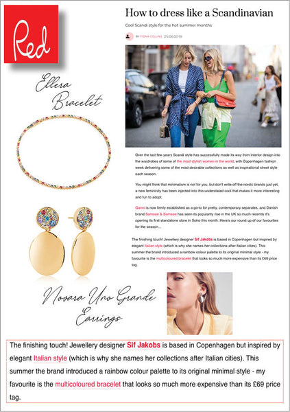 Sif Jakobs Jewelery Ellera Bracelet and Novara Uno Grande Earrings in Red Magazine - Gold with Multicolored Zirconia