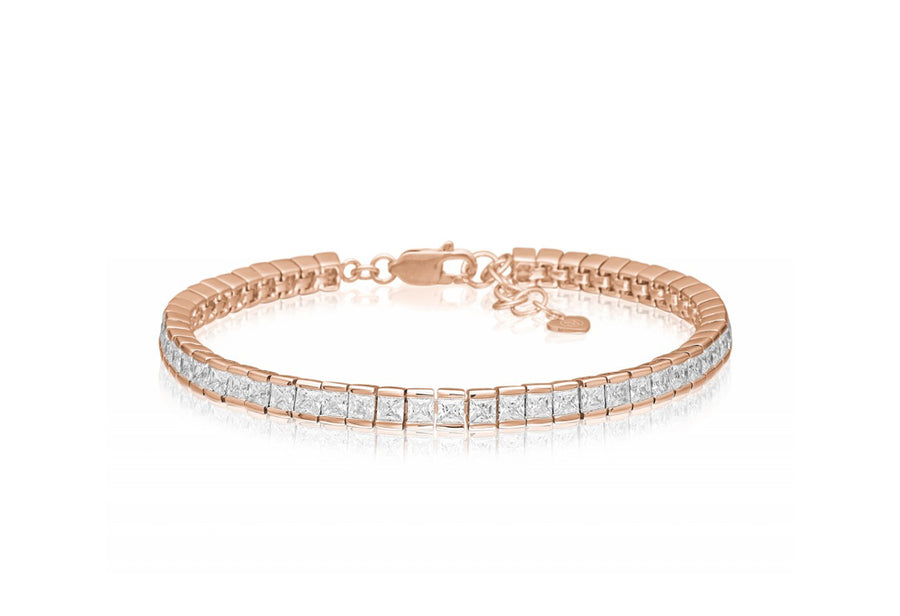 Bracelet Sasso - 18k rose gold plated with white zirconia