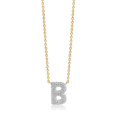 Necklace Novoli B - 18k gold plated with white zirconia