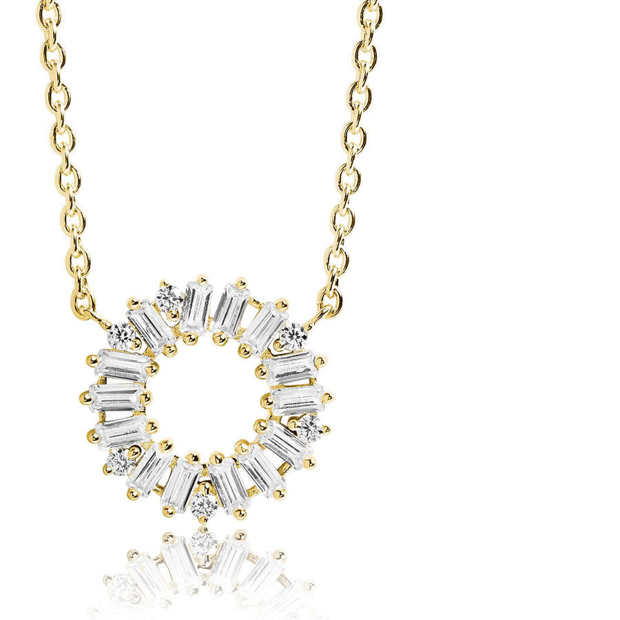 Necklace Antella Circolo - 18k gold plated with white zirconia
