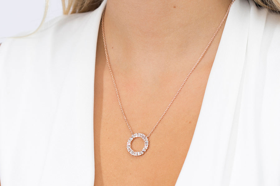Necklace Antella Circolo Grande - 18k rose gold plated with white zirconia