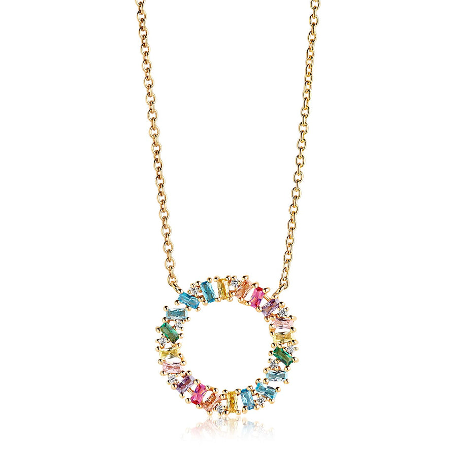 Necklace Antella Circolo Grande - 18K GOLD PLATED with multicoloured zirconia