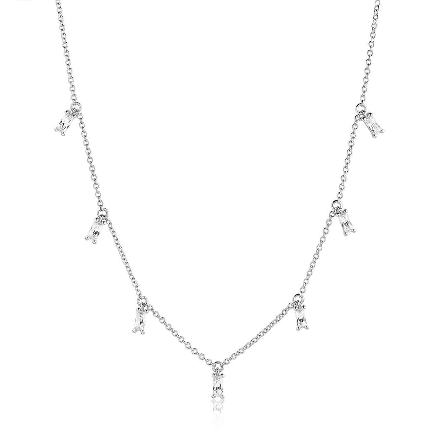 Necklace Princess Baguette with white zirconia
