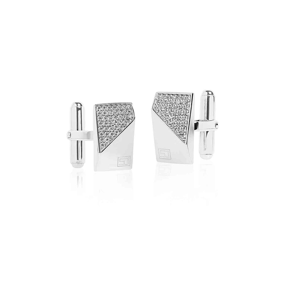 Cufflinks Terni with white zirconia