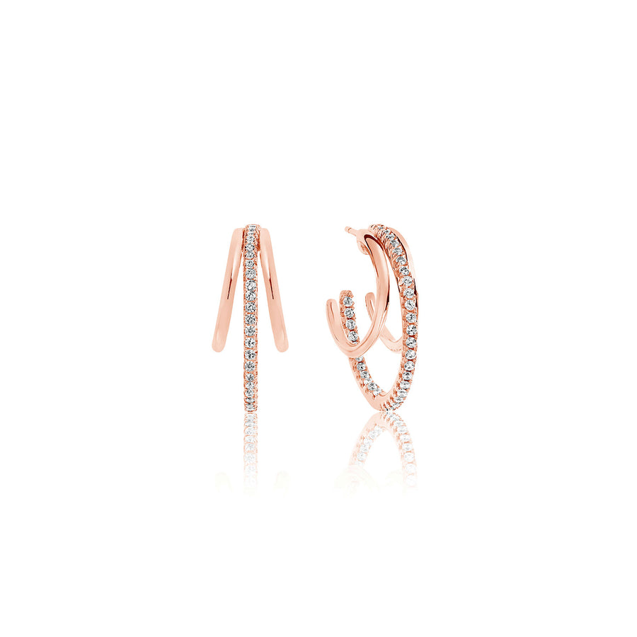 Earrings Ozieri - 18k rose gold plated with white zirconia