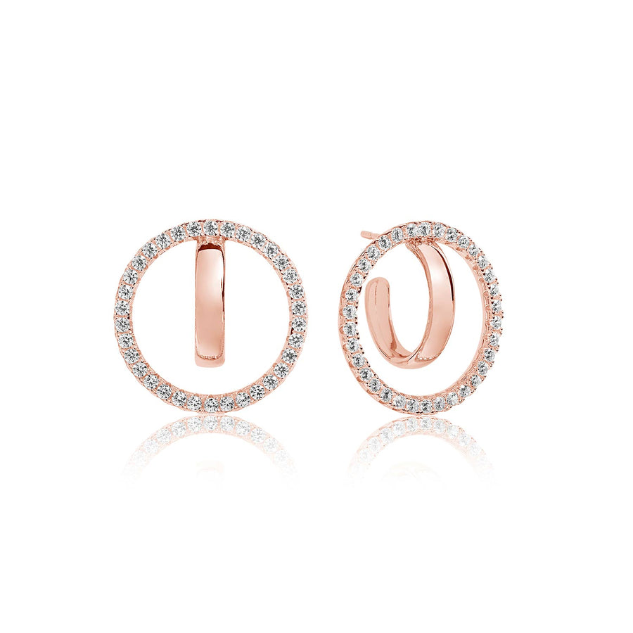 Earrings Ozieri Due Grande - 18k rose gold plated with white zirconia