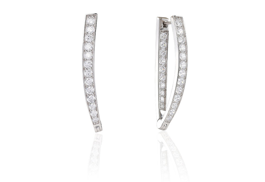 Earrings Pila Due Grande with white zirconia