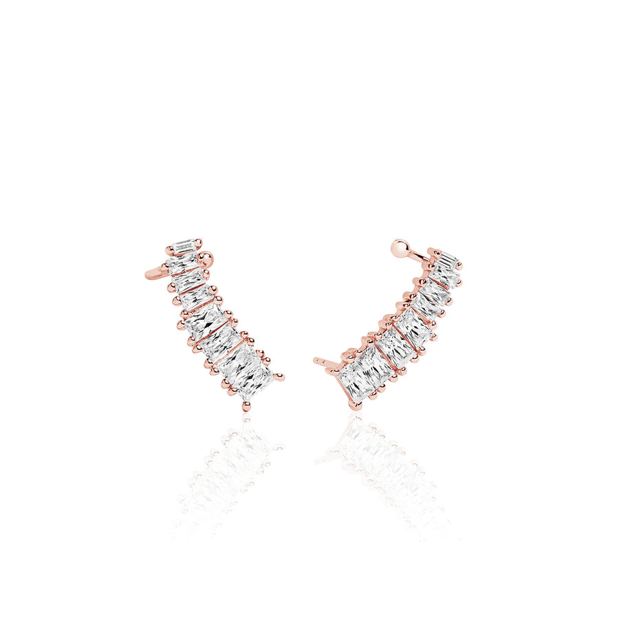 Ear cuffs Antella - 18k rose gold plated with white zirconia