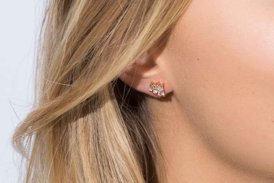 Earrings Antella Tre - 18k rose gold plated with white zirconia