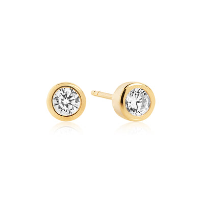 Earrings Sardinien Piccolo - 18k gold plated with white zirconia