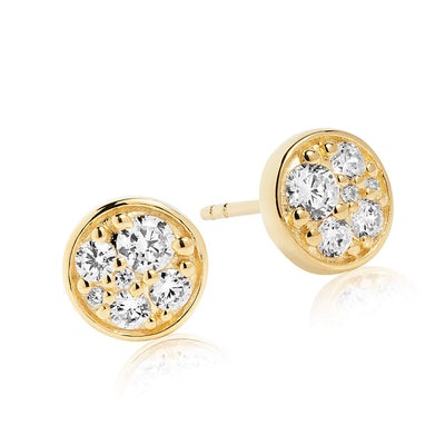 Earrings Novara Piccolo - 18k gold plated with white zirconia