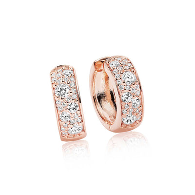 Earrings Novara Circolo - 18k rose gold plated with white zirconia