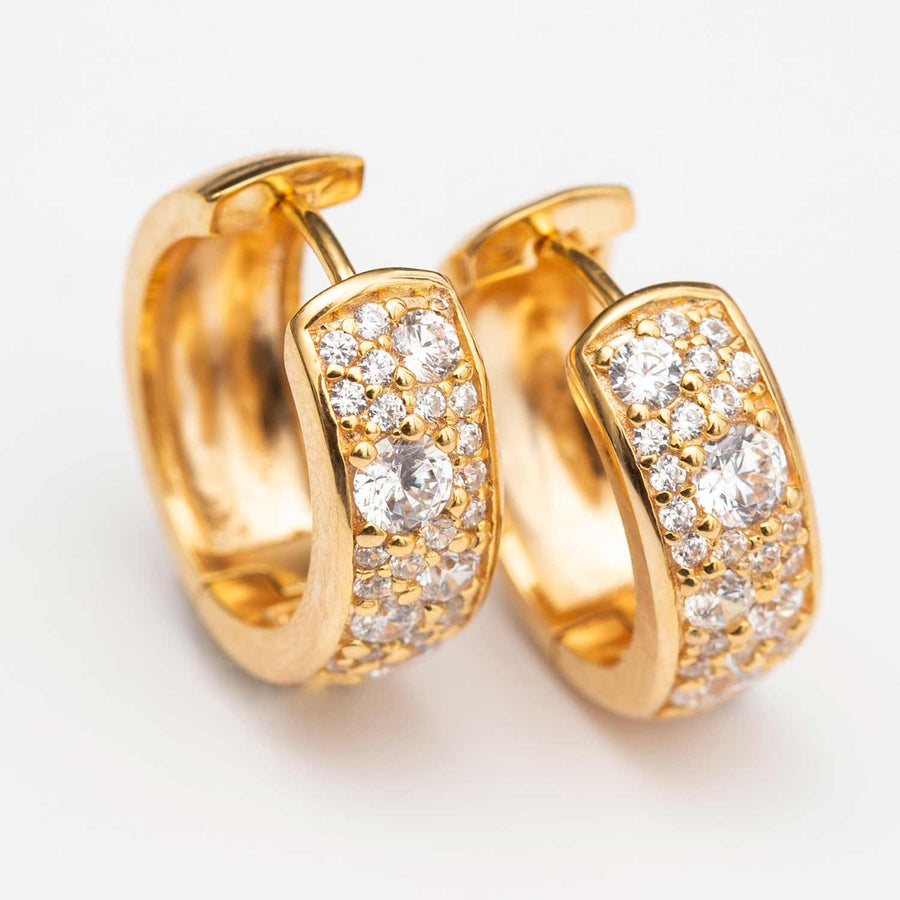 Earrings Novara Circolo - 18k gold plated with white zirconia