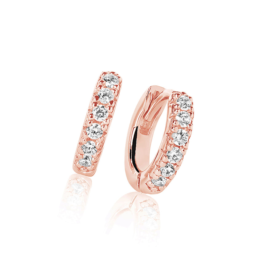 Earrings Ellera Piccolo - 18k rose gold plated with white zirconia