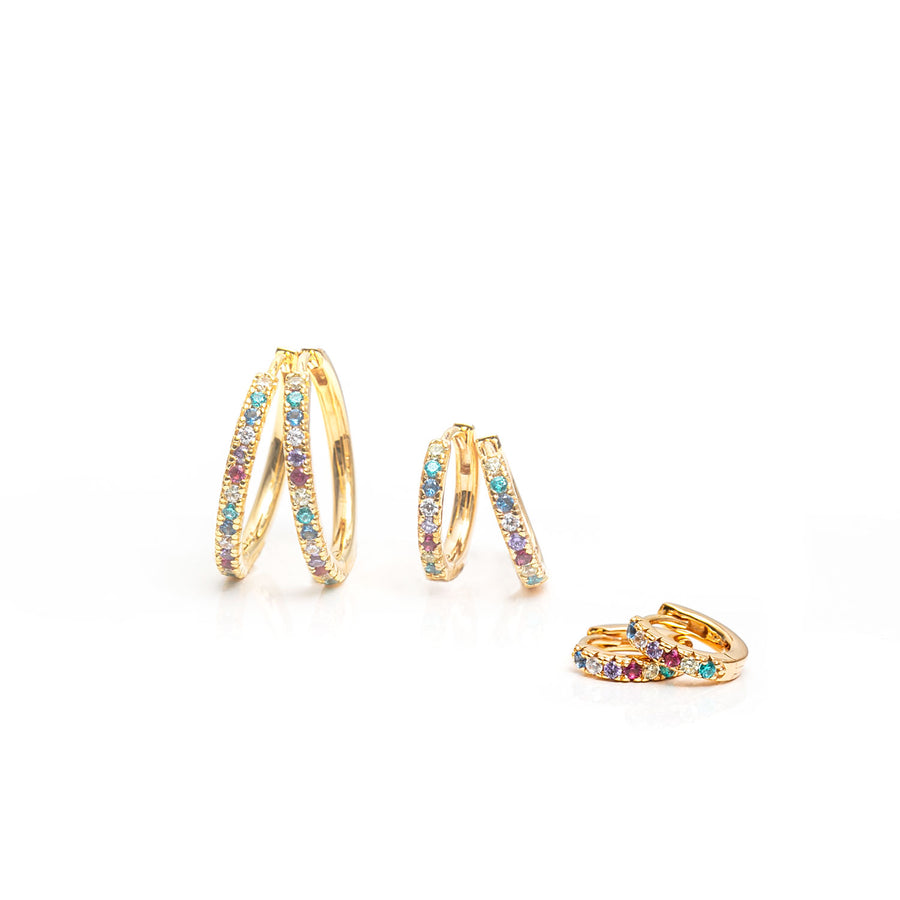 Earrings Ellera Piccolo - 18k gold plated with multicoloured zirconia