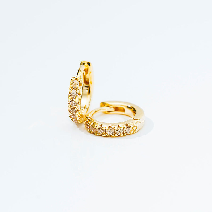 Earrings Ellera Piccolo - 18k gold plated with yellow zirconia