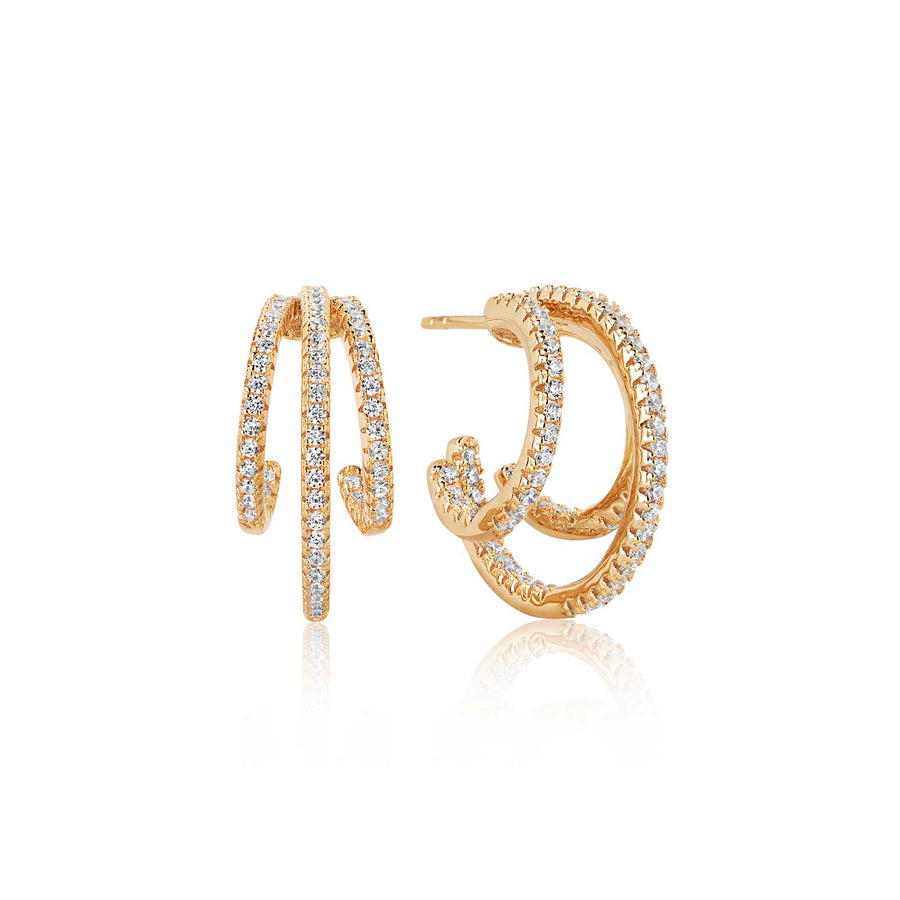 Earrings Ozieri Tre - 18k gold plated with white zirconia