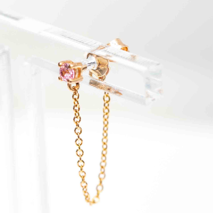 Earrings Princess Piccolo Single Lungo - 18k gold plated with pink zirconia