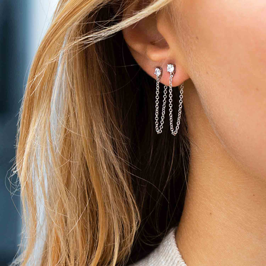 Earrings Princess Piccolo Lungo with white zirconia