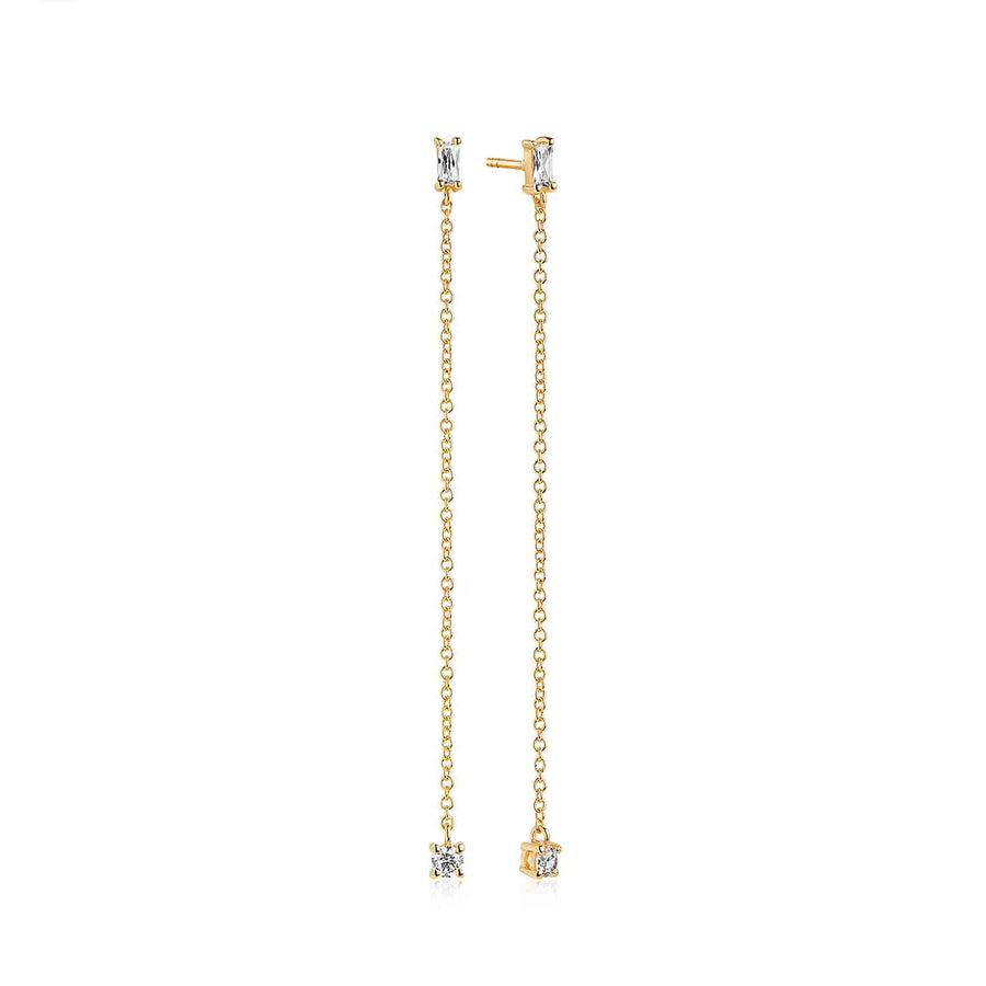 Earrings Princess Baguette Lungo - 18k gold plated with white zirconia