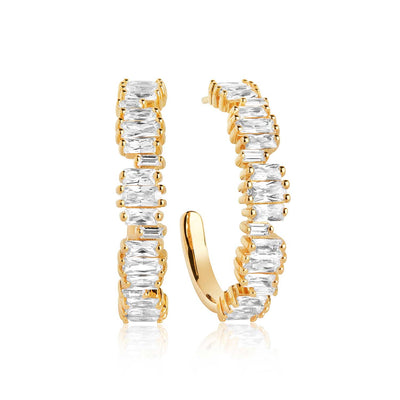 Earrings Antella Creolo Grande - 18k gold plated with white zirconia