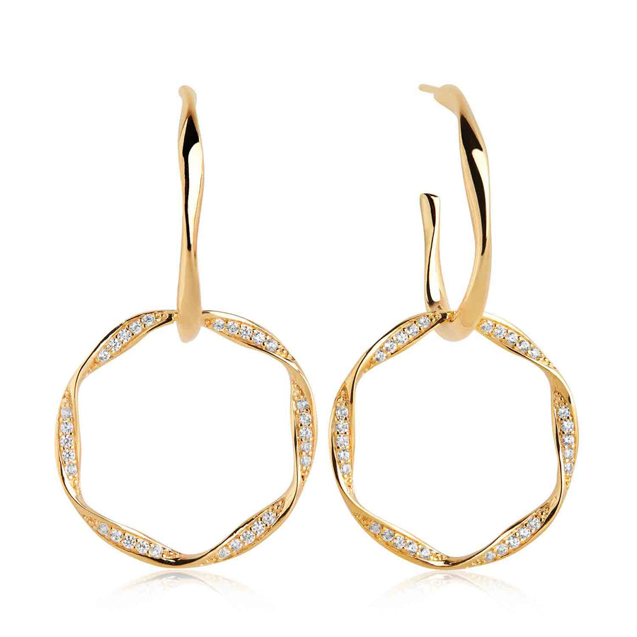 Earrings Cetara Due with white zirconia - 18k gold plated