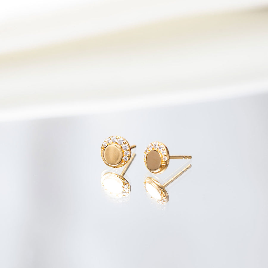 Earring Portofino Piccolo with white zirconia - 18k gold plated