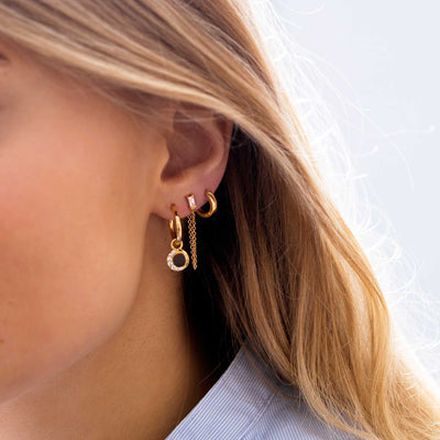 Earrings Portofino Lungo - 18k gold plated with white zirconia
