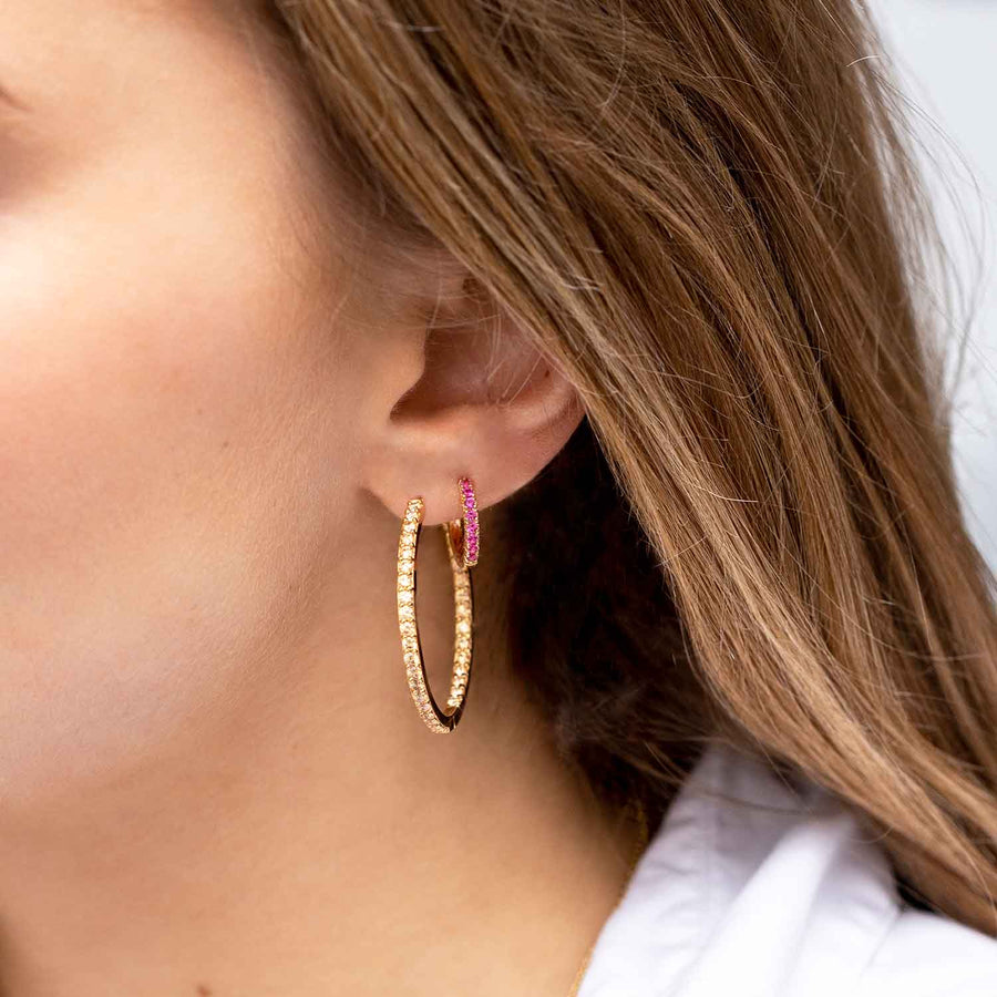 Earrings Bovalino - 18k gold plated with yellow zirconia