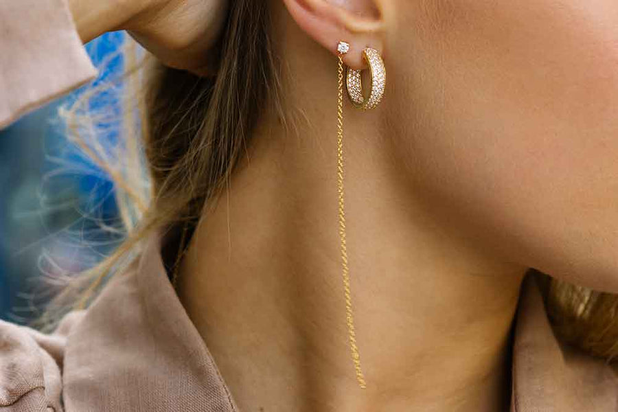 Earrings Imperia - 18k gold plated with white zirconia